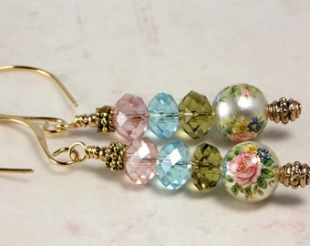 Tensha Bead and Crystal Earrings, Pastels, Pink Rose, Spring Jewelry