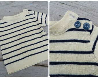 Vintage 1960 /60s French  knitted baby navy sweater /striped /size 1 or 2 years