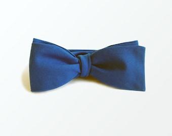 Men's Bow Tie, Royal Blue Self Bow Tie, Wedding Bow Tie, Best Men Bow Tie