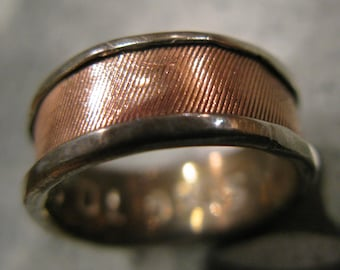 Patterned Copper on Sterling Silver Ring