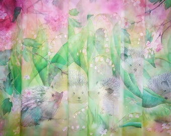 May Silk Chiffon scarf Lily of the Valley and Hawthorn Green pink Mauve shawl Hedgehogs scarf spring floral handpainted wrap silk watercolor