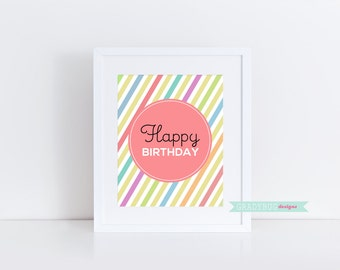 Happy Birthday Print, wall art printable, printable quote, Birthday Printable, Pink, Girl Birthday, Stripes, Instant Download