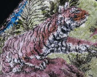 Vintage 50s 60s 70s Pink Faded Tiger Tapestry Rug Animal Magic Odd Jungle Cat MCM Mid Century