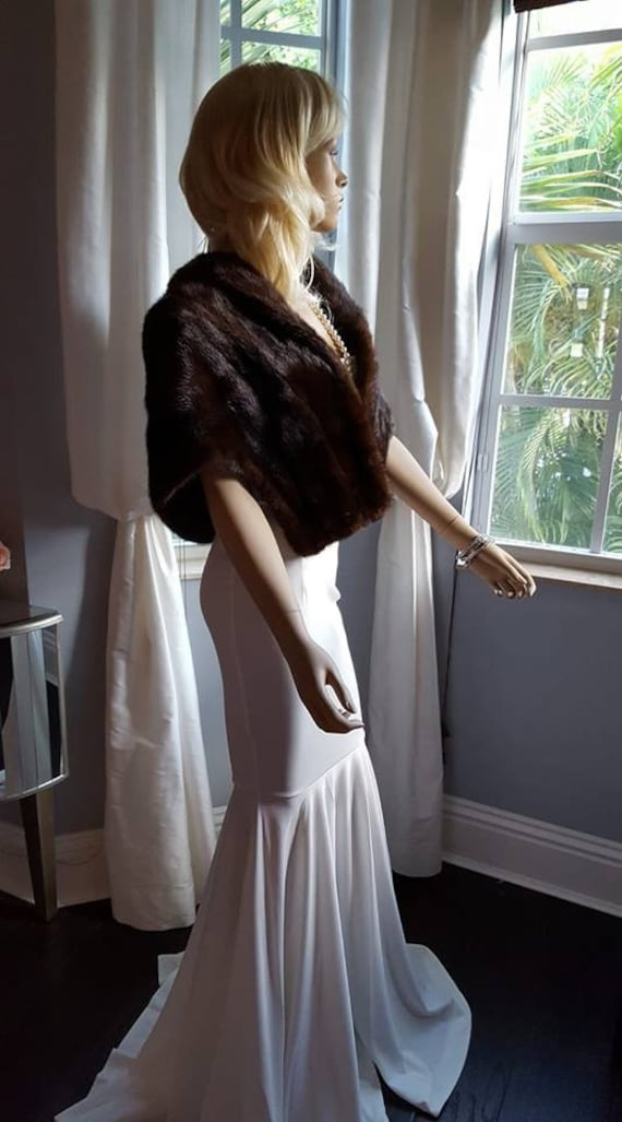 Fur Couture Shrug Fur Fur Luxury Luxury Bridal Vintage Bridal Cape Shawl Fur Fur Mink Wrap Mink Mink Bolero Stole Brown Bridal xO8q6