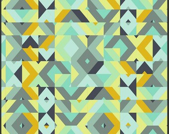 End of Bolt - Urban Mod by AGF Studio - Cubisme Verdigrid (UR-70017) - 1 Yard