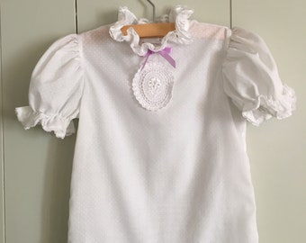 White Lace Swiss Dot Vintage Girl's shirt 4T