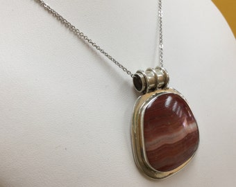 Vintage 925 Sterling Silver Pendant With Agate Stone!!!   Free US Shipping!!!
