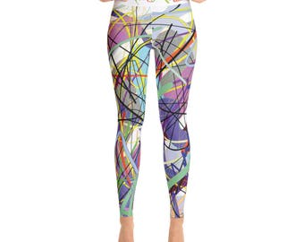 SGRIB Print Women's Fashion Yoga Leggings - xs-xl sizes - design number sixteen - on white