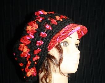 multicolored hat, crochet, very warm