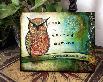 "Owl Decor--8X10 Wood Mounted Archival Print of Original Mixed Media Art with Hand-Painted Details and Finish--""Sacred Owl""--Pam Kapchinske"