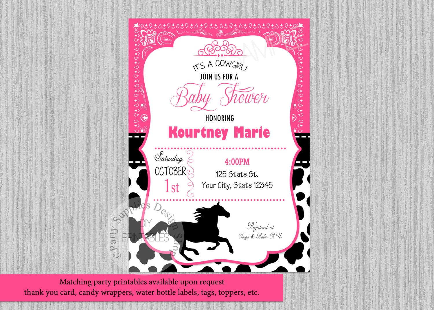Cowgirl Baby Shower Invitations Hot Pink Bandana Baby Shower