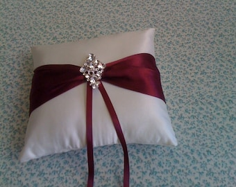 Ivory and  Burgundy  Satin Ringbearer pillow with Bling