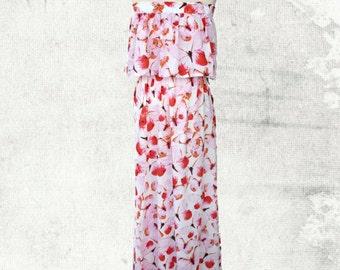 PDF Sewing Pattern Woman's Sophia Strapless Maxi Dress - D1404 Sizes 2 - 12