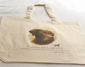 Chocolate Labrador Dog  100% Cotton Tote  Shopper Bag For Life