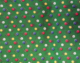 Green Flower Vintage Calico Fabric - Small Floral Print Fabric - Small Flower Sewing Fabric - 70s Flower Fabric #F-10