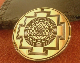 Sri Yantra pendant  - Brass, Yoga necklace, Yantra jewerly