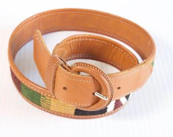 Vintage Women's Belt - Multicolor Aztec tapestry Belt size 28