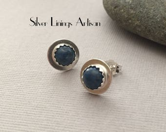 Denim Lapis Stud Earrings, Sterling Silver, Fine Silver, Bezel Set, Post Earrings, Lapis Jewelry, Metalsmith, Hand Fabricated