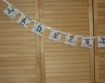 Adventures Banner, Kids Bedroom Banner, Nursery Banner, Birthday Banner
