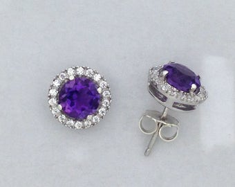 Natural Amethyst with White Topaz Stud Earrings 925 Sterling Silver