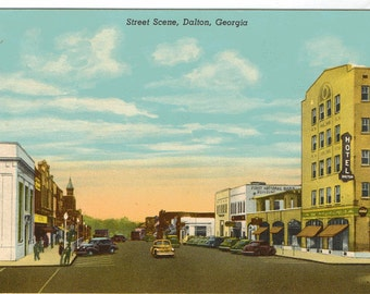 Linen Postcard, Street Scene, Dalton, Georgia, Great view, ca 1940