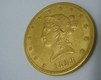 1898P Ten Dollar Gold Liberty Eagle Mint Error Die Break Coin 1898-P 1898 P FREE USA Shipping