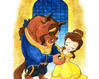 Beauty and the Beast Inspired Watercolor Print