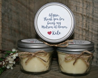Bridesmaid Maid of Honor Soy Candle Gift | Will You Be My Bridesmaid Candle, Maid of Honor Candle, Mason Jar Candle, Wedding Candle Gift