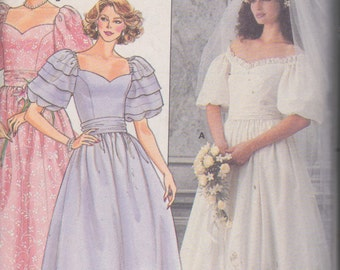 Butterick 3137 Misses' Traditional Bridal Gown and Bridesmaids' Dresses Size 14 Vintage UNCUT Pattern Rare and OOP Sweetheart Neckline