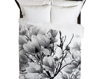 Duvet Cover, Magnolia, Floral, Shabby Chic Decor, Cottage Chic, Boho Duvet Cover, Country Home Decor, Farmhouse Decor, Black and White