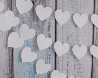 Heart Garland, White Heart Garland, Party Decoration, Birthday Party, Shower Garland, Wedding Garland
