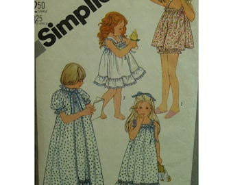 """Girls Baby Doll Pajamas, Straps, Ruffles,Bloomers, Nightgown, Robe, Gathered Neck, Puff Sleeves, Simplicity No. 5562 Size 3 (Chest 22"""" 56cm)"""