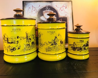Vintage Aluminum Canister Set by Kromex. Mustard Yellow in Color with Brown Barn/Farm Scene. Flour, Tea and Sugar.