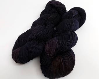 Ink, Dark Navy Blue, ColorPurl Ritzy Sock, Hand Dyed Yarn, Merino Cashmere Nylon, MCN, Sock Weight, 400 yards