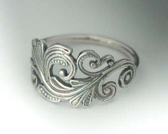 Swirl Scroll Ring, Classic Sterling Silver Art Nouveau Ring, Swirl Scroll Jewelry, Sterling Silver Ring, Ring, Antique Style Ring