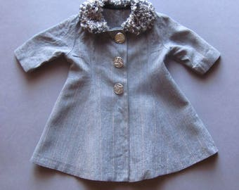 Handmade Vintage Baby Doll Coat Silver Buttons Vintage Doll Clothing