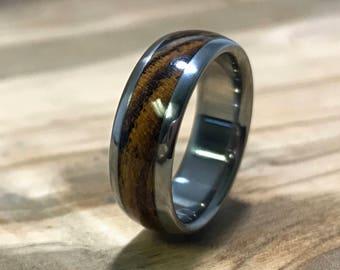 Titanium Ring, Wedding Ring, Wood Ring, Bocote Ring, Wood Inlay Ring, Mens Wedding Ring, Mens Ring, Promise Ring, Anniversay Ring, Engraved