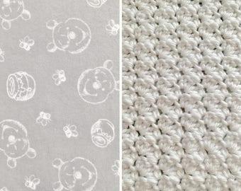 Pooh-Blanket-Winnie-Pooh-Blanket-White-Gray-Pink-Minky-Baby Blanket-Burp Cloths-Pom-Poms-Baby Blanket-Layette Set
