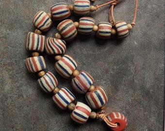 Matched Large A Speo Chevron Beads from the 1600s-1700s African Trade