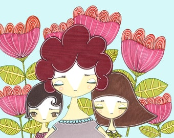 Mother and Daughters - 366 Project, Celebrating Motherhood, Mother Daughter, Illustration