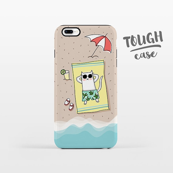 Beach iPhone Case iPhone 8 Plus Case iPhone X Case iPhone 7 Case iPhone 8 Case iPhone 6 Plus Case 6s 5s 5c 5 4 Summer Cat Phone Case TOUGH