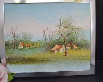 Original painting signed W. Eaton landscape houses trees pastoral chrome frame ready to hang/Offered by poshparagons for you or give as gift