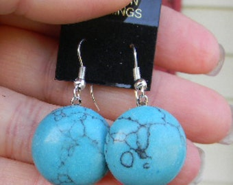 Blue turquoise Stone or Art DECO Glass Cabochon Earrings