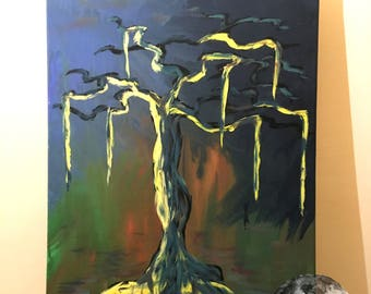 L'Arbre Liquide - Original abstract expressionist art acrylic painting on A3 canvas
