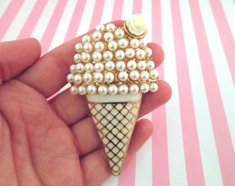Large Pearl and Enamel Gold Ice Cream Cone Cabochon, #957