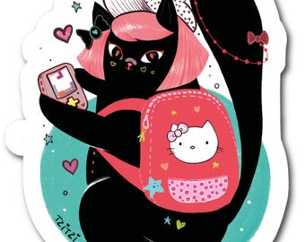 Sticker Cute Harajuku Kitty, Black cat, Cute Kitty stickers, Polyester stickers 37mm x 37mm