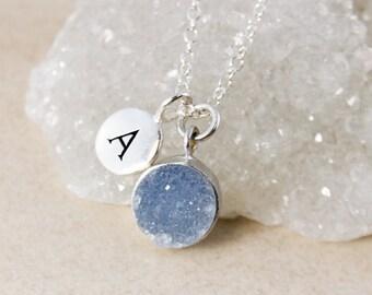 50% OFF SALE - Grey/Blue Druzy Pendant Necklace – Initial Charm