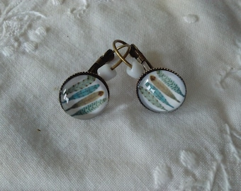 Earrings, glass cabochon, blue feathers, beads