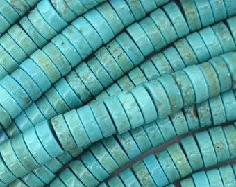 "8mm blue turquoise heishi beads 16"" strand 39989"