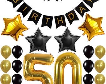 50th BIRTHDAY DECORATIONS BALLOON Banner - Happy Birthday Black Banner, 50th Gold Number Balloons, Perfect 50 Years Old Party Supplies